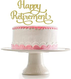 Gold Glittery Happy Retirement Cake Topper,Retirement Party Decorations, Retirement Party Cake Topper Decorations