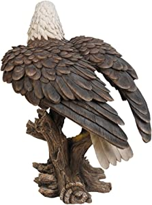 Pacific Giftware Realistic Looking Majestic Bald Eagle On Stump Statue Detailed Sculpture Amazing Likeness Life Size Scale Resin Sculpture Hand Painted Statue Indoor Outdoor Decor