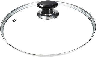 Tapa de vidrio universal mit con mango de perilla y borde protector de acero inoxidable para ollas y sartenes (300mm)