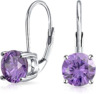 1CT Solitaire Round Brilliant Cut AAA CZ Leverback Drop Earrings For Women 925 Sterling Silver More Birth Month Colors