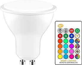 YChoice365 Led-lamp, 8W GU10-lampen Kleurveranderende verstelbare spot met IR-afstandsbediening, RGB Sfeerlicht Decoratiev...