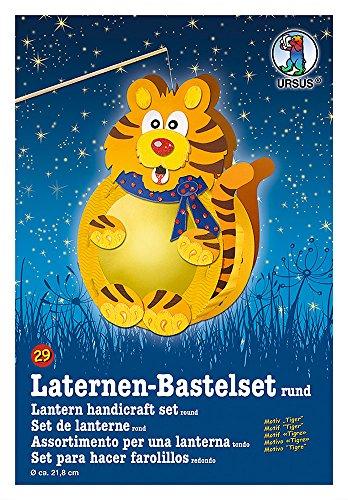 Ursus 18700029 - Laternen Bastelset, Tiger, ca. 21,8 x 21 x 10,3 cm, Durchmesser ca. 21,8 cm, inklusive Vorlagebogen mit Bastelanleitung, zum Selbstgestalten, ideal für den nächsten Laternenlauf