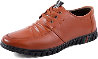 Men's Oxfords Rung Toe Flavourless Heel Breathable Lace Up Business Leisure Shoes casual shoes (Color : Brown, Size : 41 EU)