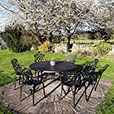 <span class='highlight'>Lazy</span> <span class='highlight'>Susan</span> Frances 150 cm Round 8 Seater Garden Table, Weatherproof, Maintenance Free, Lightweight, Durable, Antique Bronze Finish, Matching ROSE Chairs, Cushions Not Included