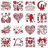Plantilla de Pintura de San Valentín JOOPOM 16 Piezas Plantillas de Dibujo Plastico Plantillas con Diferentes Patrones para Pintar Álbumes de Recortes San Valentín Tarjetas de Felicitación