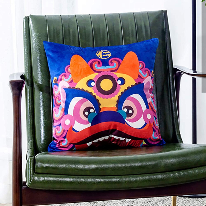 RUYII Coussin voitureré Animal Coussin en Peluche Coussin De Taille Doux Canapé-lit Décor à La Maison,GodBeast2-45x45cm