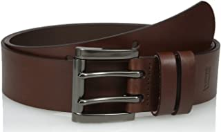 Men's Leather Work Belt - Heavy Duty Wide Strap With Silver Double Prong Buckle