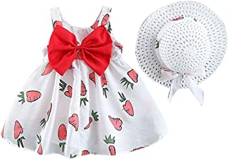 ❤️ Mealeaf ❤️ Toddler Baby Girls Fruit Carrots Print Bow Princess Dress Casual Clothes Hat(Red,80/7/8)