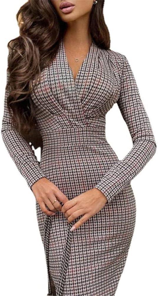 Women Plaid Business Pencil Dresses Long Sleeve V Neck Office Work Slim Fit Dress Bodycon Formal Dress-Grey_S