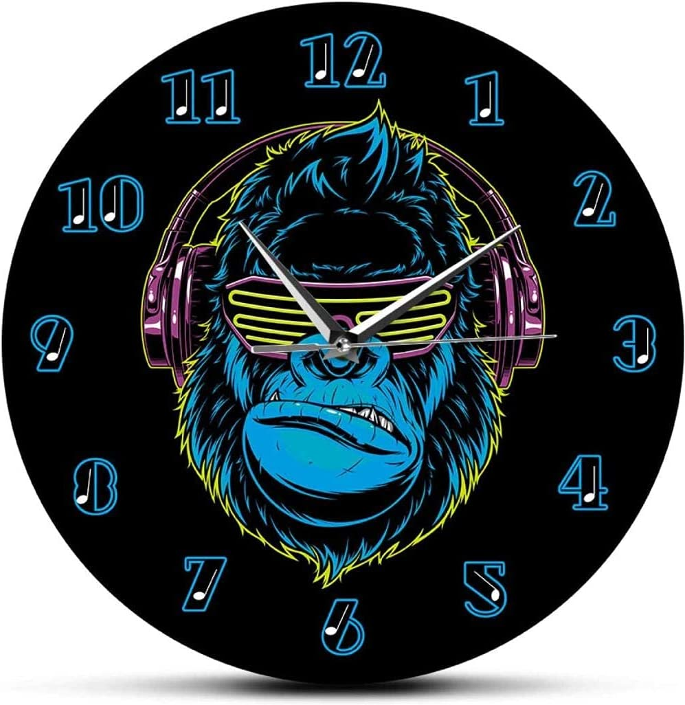 Indoor Wall Clock Clocks Now free shipping Funny Music to 25% OFF O Gorilla Listening