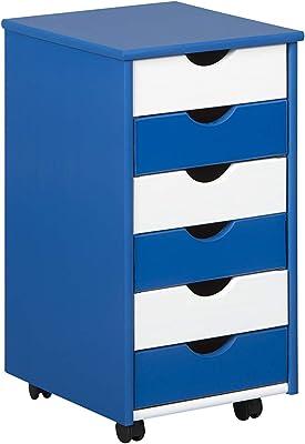 Inter Link Caisson de bureau à roulettes panneaux de particules vernis bleu et blanc