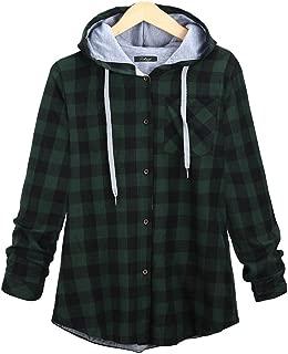 Women's Soft Casual Mid-Long Plaid Checker Pattern Hood Button Down Shirt Top