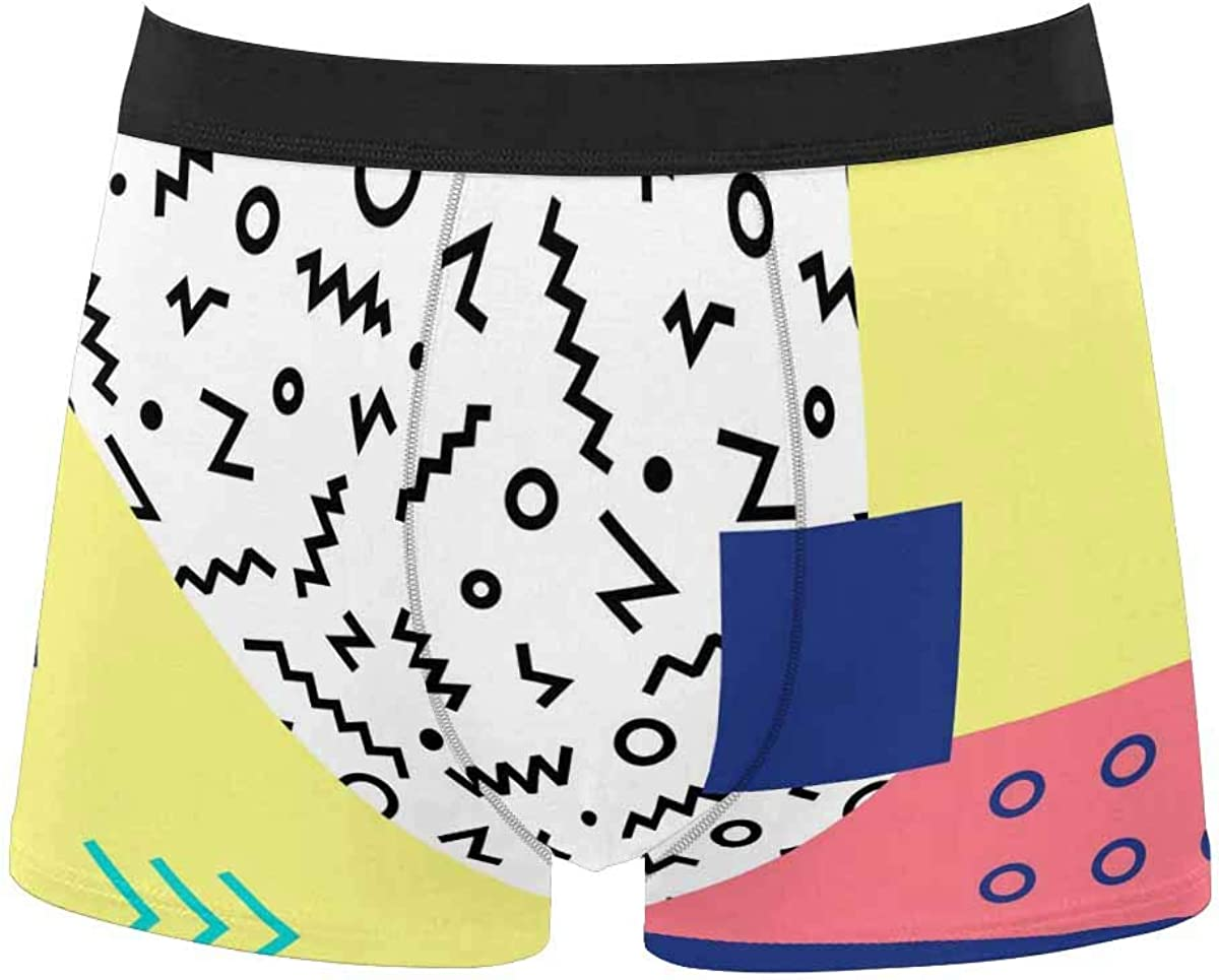 InterestPrint All Over Print Breathable Brief Underwear for Mens Juniors Geometric Yellow Pattern
