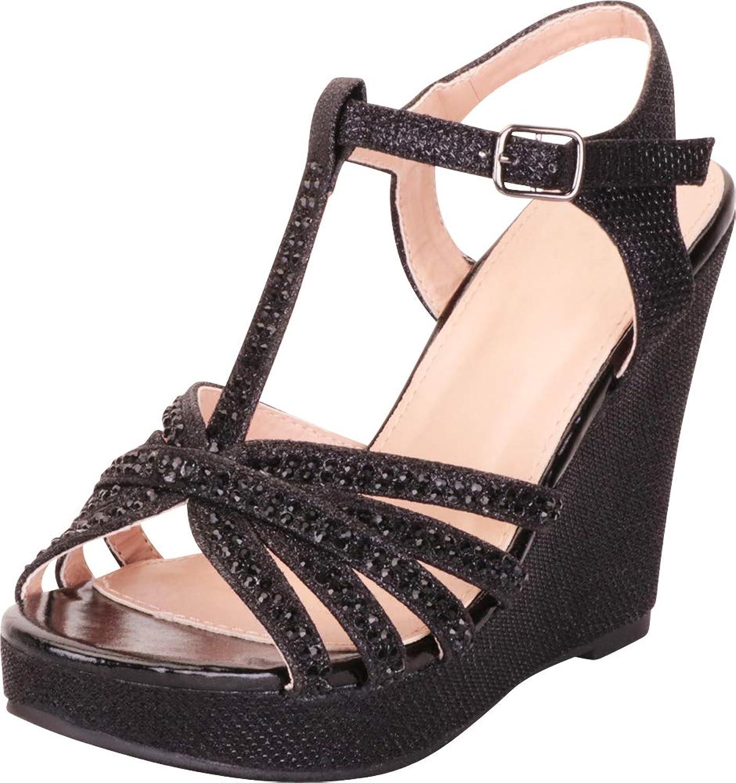 Cambridge Select Women's Open Toe T-Strap Crystal Rhinestone Chunky Platform Wedge Dress Sandal
