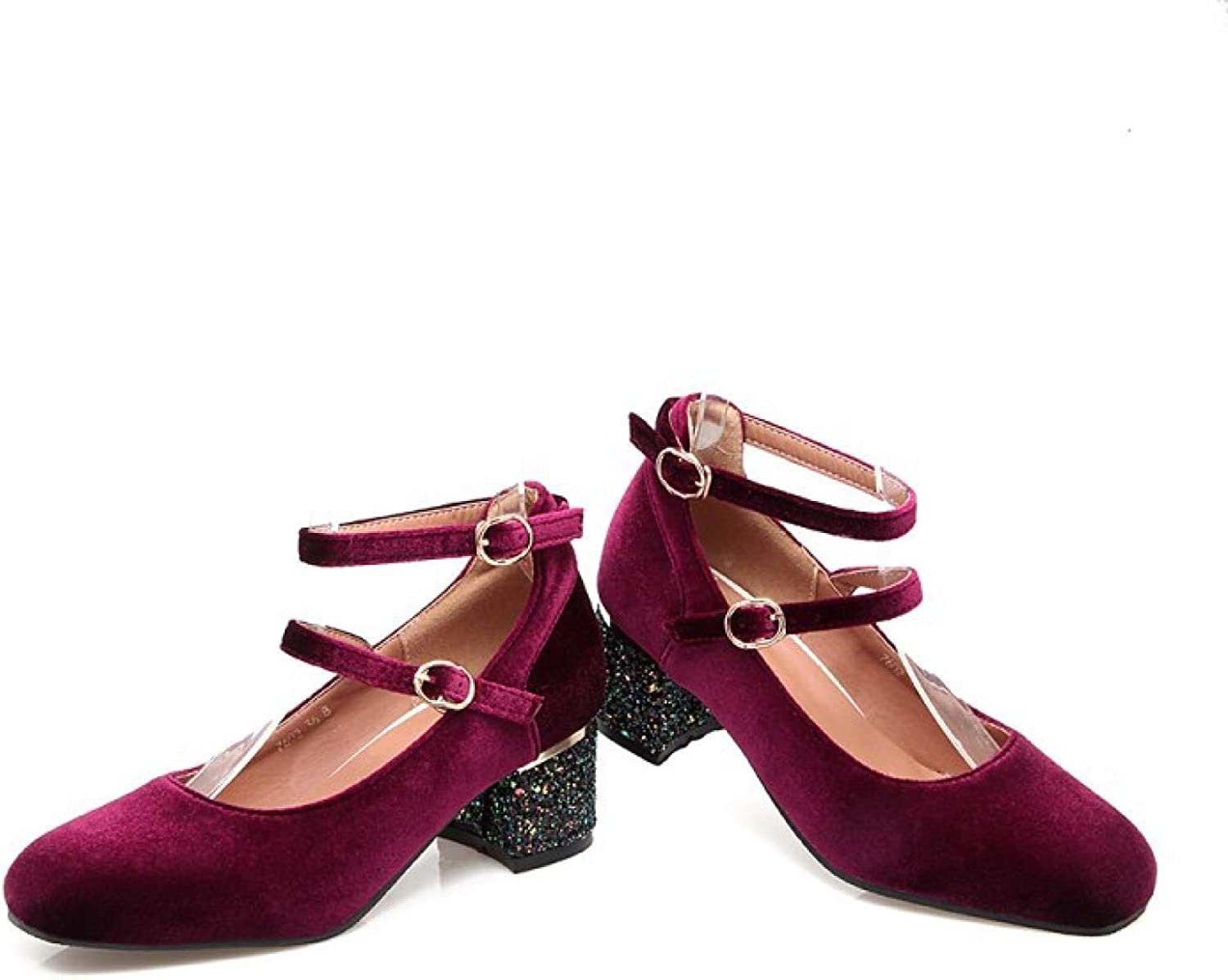 Women's Square Toe Max 74% OFF Velvet Mary Direct sale of manufacturer Jane Sh Vintage Shoes Ankle Strap