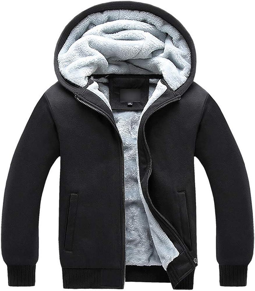 XIAOADAI Men's Winter Heavyweight Sherpa Lined Zipper Fleece Hoodie Sweatshirt Jacket