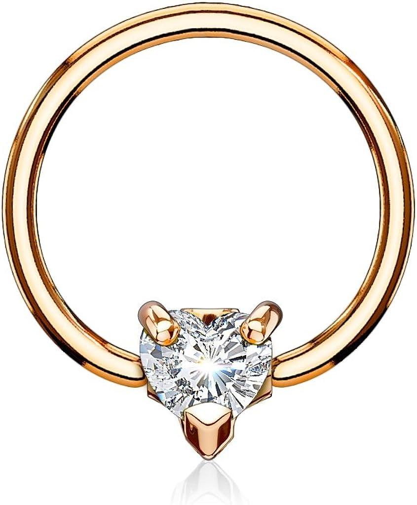 Pierced Owl 16GA CZ Crystal Heart Septum/Cartilage Captive Bead Ring