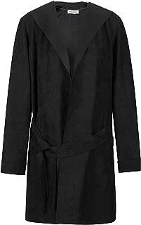 NOBLEMOON Women's Lapel Trench Coat, Mid-Length Raincoat Pea Coat with Belt