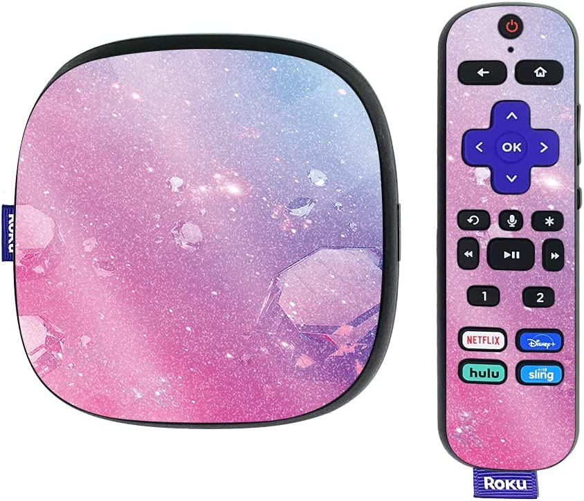 MightySkins Glossy Glitter Skin Compatible with Roku Ultra HDR 4K Streaming Media Player (2020) - Pink Diamond | Protective, Durable High-Gloss Glitter Finish | Easy to Apply | Made in The USA
