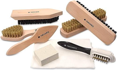 Navaris Set brosses à chaussures - Kit 8 outils d'entretien - 6x brosse 1x gomme 1x tissu de polissage - Nettoyage cu...