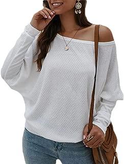 Women Off Shoulder Tops Loose Shirt Batwing Sleeves Tunics Blouse