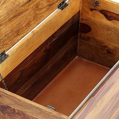 "vidaXL Solid Sheesham Wood Storage Chest Living Room Hallway Entryway Chunk Box Cabinet Organizer Trunk Furniture 31.5""x1"