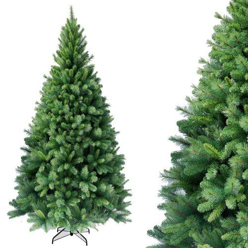 RS Trade HXT 1101 künstlicher Weihnachtsbaum 180 cm (Ø ca. 106 cm) mit 824 Spitzen und Schnellaufbau Klapp-Schirmsystem, schwer entflammbar, unechter Tannenbaum inkl. Metall Christbaum Ständer