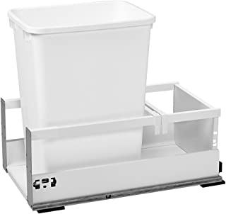 Rev-A-Shelf - TWCSD-15DM-1 - Single 35 Qt. White Pull-Out Wood Bottom Mount Waste Container with Servo-Drive for 12 in. Opening