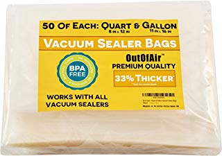 """100 Vacuum Sealer Bags: 50 Quart (8"""" x 12"""") and 50 Gallon (11"""" x 16"""") OutOfAir Vacuum Sealer Bags for Foodsaver and Other Savers. 33% Thicker than Others, BPA Free, FDA Approved, Great for Sous Vide"""