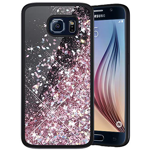 Caka Galaxy S6 Case, Galaxy S6 Glitter Case Starry Night Series Luxury Fashion Bling Flowing Liquid Floating Sparkle Glitter Girly Soft TPU Black Case for Samsung Galaxy S6 (Rose Gold)