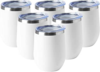 HASLE OUTFITTERS 12oz Wine Tumbler with Lid Stemless Wine Glasses Double Wall Vacuum Travel Mugs Stainless Steel Coffee Cup for Cold & Hot Drinks Wine Coffee Cocktails Beer 6 Pack White