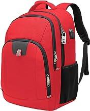 Mochila Antirrobo Impermeable,Mochila Portátil Hombre 17.3 Pulgadas Puerto USB Impermeable Trabajo Ordenador Viaje Negocio Multifuncional Daypacks Rojo