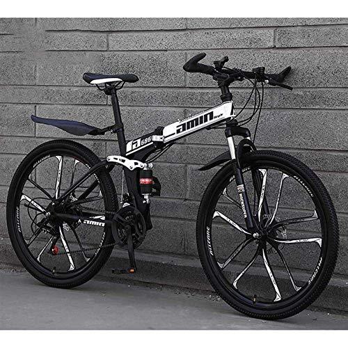 PLAYH Bicicletas Plegables MTB, 26 Pulgadas, 27 Velocidades, Freno De Disco Doble, Suspensión Total Antideslizante, Cuadro Ligero, Horquilla De Suspensión Bicicletas De Carreras para Hombres