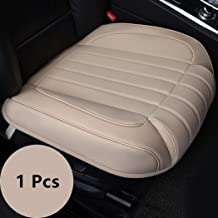 yberlin Car Seat Cushion,1 Luxury Soft PU Leather Auto Bottom Front Driver&Passenger Seat Protector Repair Cover Pad with Comfort Leg Support Pillow- Fit Most Midsize Vehicles, SUV, or Van.