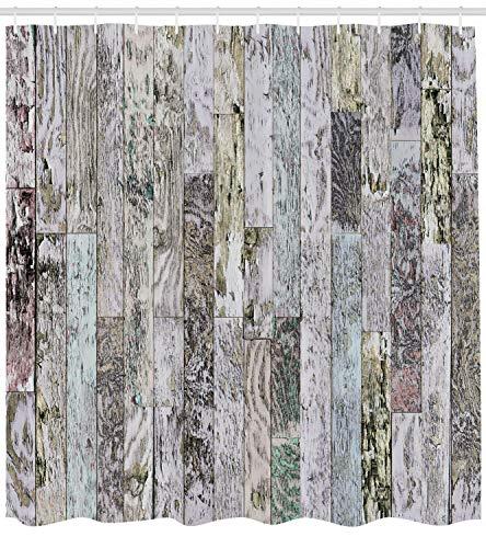 123456789 Houtdruk douchegordijn pastel eiken houten planken druk voor de badkamer