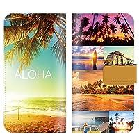 iPhoneX/XS 対応 スマホケース 全機種対応 手帳型 ハワイアン コラージュ 木 hawaii ビーチ サーフ ハワイ 海 サマー スマートフォン ケース