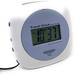 Giver Vibration Alarm Clock with Dual Alarms and Dual Time Zones, Battery Powered - Great for Deaf/Hearing Impaired Travel Clock