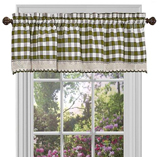 "Achim Home Furnishings Valance Buffalo Check Window Curtain, 58"" x 14"", Sage & Ivory"
