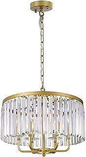 Wellmet 6 luces de araña de cristal dorado, lámpara colgante moderna de cristal, 50 cm de diámetro, lámpara colgante para dormitorio, salón, comedor