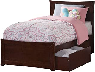 Atlantic Furniture Metro Platform Bed with 2 Urban Bed Drawers, Twin XL, Walnut