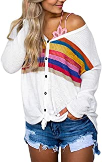 AOJIAN Blouse Women Long Sleeve T Shirt Multicolor Striped Print Button Down Tops