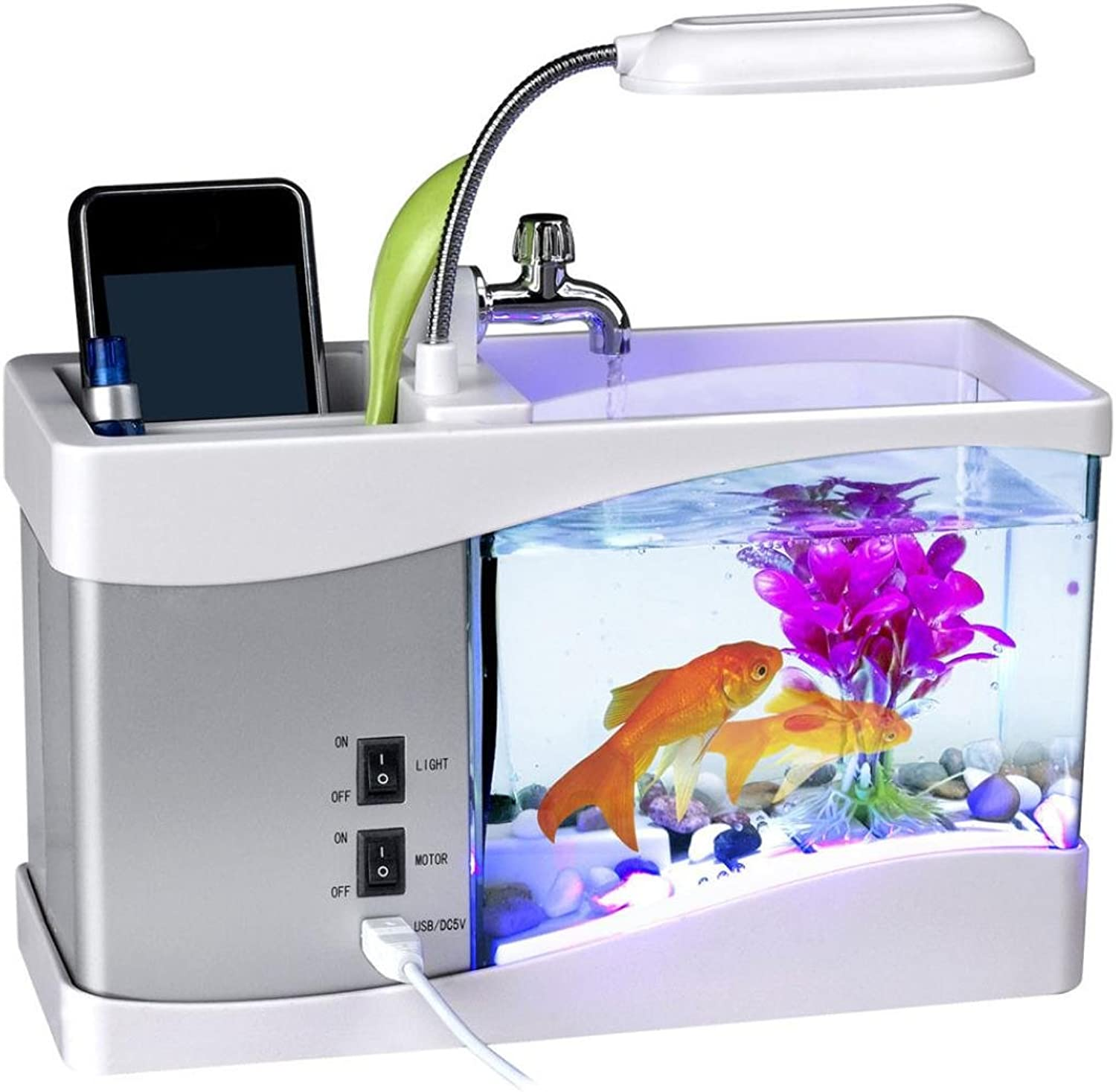 Kecar USB Desktop Aquarium Fish Tank  Gradient Light Dream Mini Aquarium  LCD Desktop Lamp Light Clock Fish Tank Aquarium