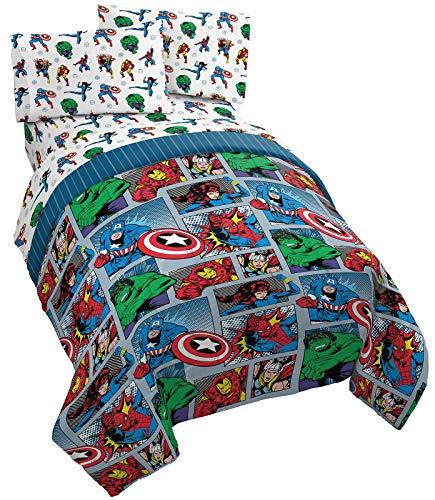 Jay Franco Marvel Avengers Fighting Team 5 Piece Full Bed Set - Includes Reversible Comforter & Sheet Set Bedding - Super Soft Fade Resistant Microfiber (Official Marvel Product)