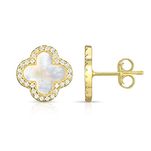 a13009e91 Sterling Silver Mother Of Pearl And Cubic Zirconia Four Leaf Clover Post  Earrings.
