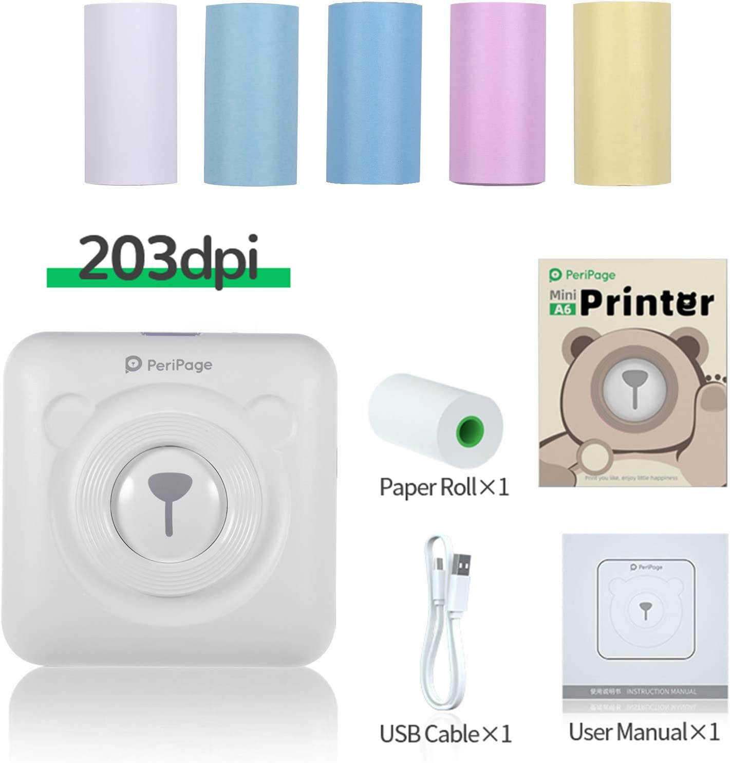 Aibecy PeriPage Mini Thermal Printer with USB Cable Pocket Wireless BT Picture Photo Label Memo Receipt Paper Printer Support for Android iOS Smartphone Windows 6 Rolls Thermal Paper