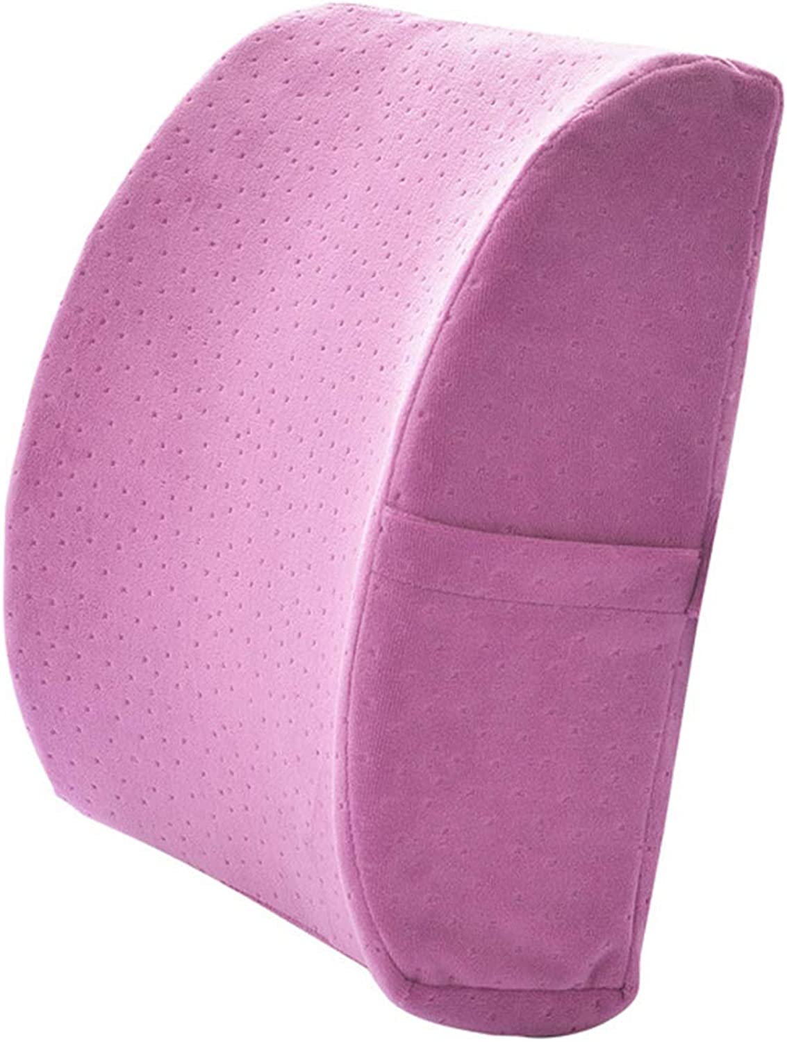 LIQICAI Memory Foam Lumbar Support Cushion Against Back Pain for Car Seat Office Chair, 4 colors Optional (color   Purple, Size   34x32x12cm)