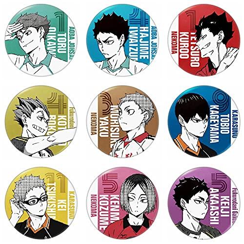 AKlamater 9 broches de insignia de anime, populares anime periféricos de dibujos animados redondos de metal pines botón bolsas de la insignia Set de regalo para los fans del anime (Haikyuu)