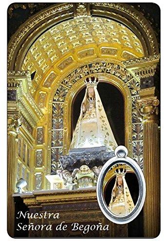 Ferrari & Arrighetti Estampa Virgen de Begoña con oración y Medalla de Resina - Medida 8,5 x 5,5 cm - en español (Paquete de 6 Piezas)