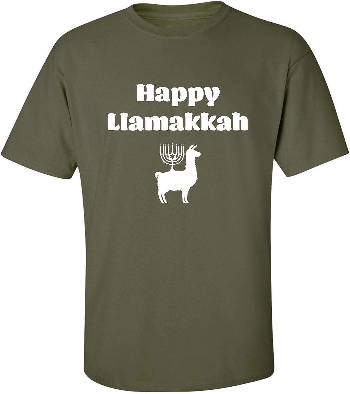 Happy Llamakkah Adult T-Shirt in Military Green - XXXXX-Large