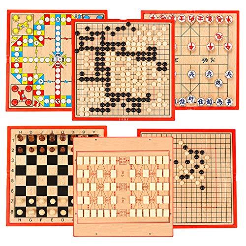 LTCTL ajedrez Conjunto De Ajedrez Portátil Six En Un Juego Juego De Ajedrez Multifuncional con Tablero De Ajedrez De Madera Chess China para Juego de ajedrez